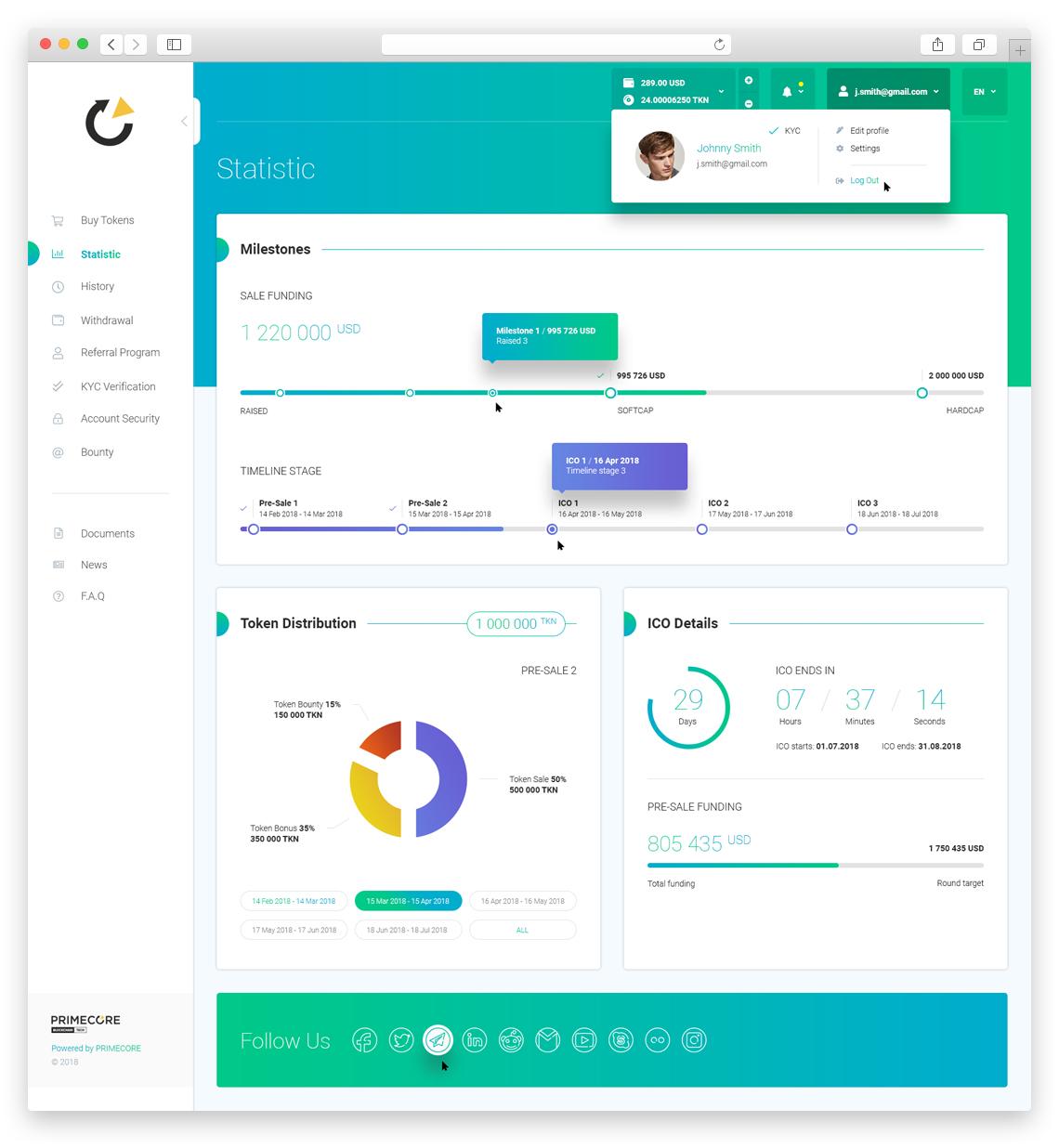 PRIMECORE ICO Platform